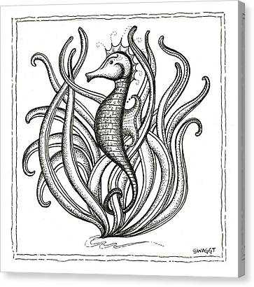 Sea Weed Canvas Print - Seahorse by Stephanie Troxell