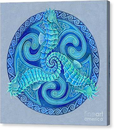 Seahorse Triskele Canvas Print by Rebecca Wang