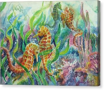 Seahorses Three Canvas Print by Deborah Younglao