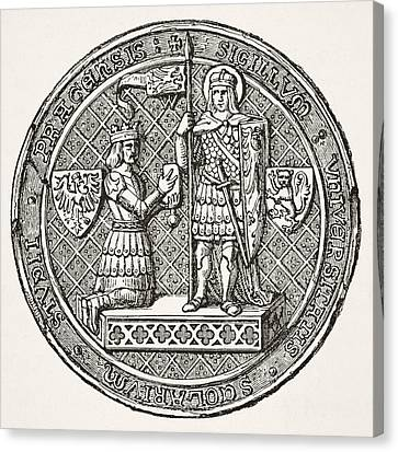 Seal Of The University Of Prague From Canvas Print by Vintage Design Pics