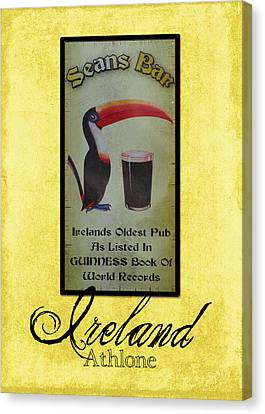 Seans Bar Guinness Pub Sign Athlone Ireland Canvas Print by Teresa Mucha