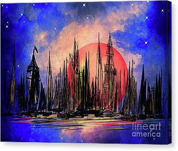 Canvas Print featuring the drawing Seaport by Andrzej Szczerski