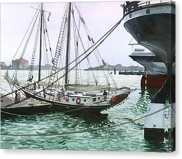 Canvas Print featuring the painting Seaport New York by Sergey Zhiboedov