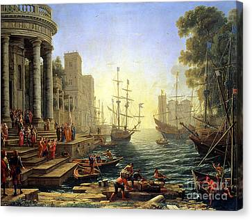 Seaport With The Embarkation Of Saint Ursula  Canvas Print by Claude Lorrain