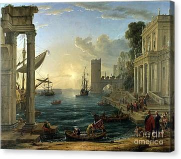 Seaport With The Embarkation Of The Queen Of Sheba Canvas Print