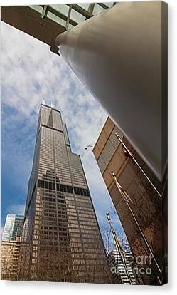 Sears Tower From Across The Street Canvas Print by Sven Brogren