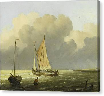 Seas Off The Coast Canvas Print by Ludolf Bakhuysen