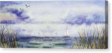 Seascape Elongated Painting With Sailboat Canvas Print