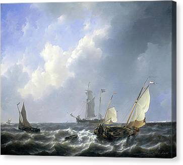 Seascape From The Zeeland Waters Canvas Print by Petrus Johannes Schotel