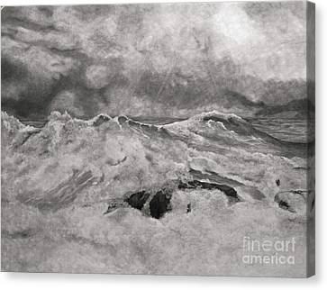 Seascape In Graphite Canvas Print by John Stuart Webbstock