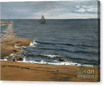 Seascape In Moonlight Canvas Print