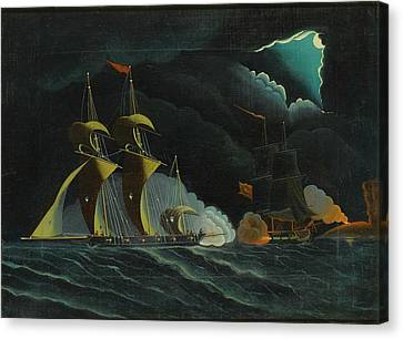 Seascape, Night Scene With Pirate Ships Canvas Print by Thomas Chambers