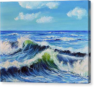 Canvas Print featuring the painting Seascape No.3 by Teresa Wegrzyn