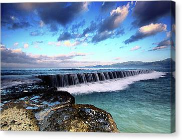 Seascape Paintings For Sale - Falling Oceans Canvas Print by Frances Leigh