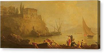 Seascape, Sunset  Fishermen Pushing Out A Boat  Canvas Print by Claude Joseph Vernet