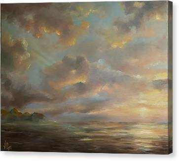 Seascape Sunset Oil On Canvas  Canvas Print by Vali Irina Ciobanu