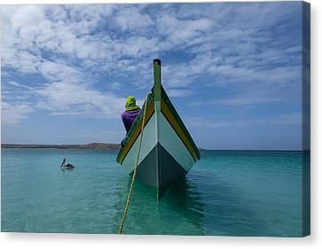 Seascape With A Fishing Boat In A Caribbean Sea Canvas Print