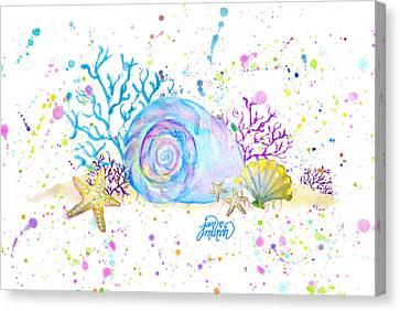 Seashells And Coral Watercolor Canvas Print