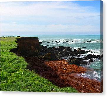 Canvas Print featuring the digital art Seaside Bluff by Timothy Bulone