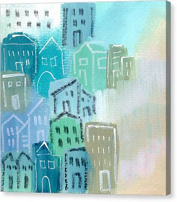 Abstract Expressionist Canvas Print - Seaside City- Art By Linda Woods by Linda Woods