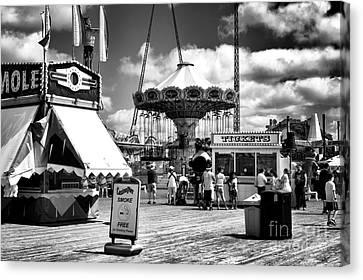 Casino Pier Canvas Print - Seaside Heights Casino Pier Mono by John Rizzuto