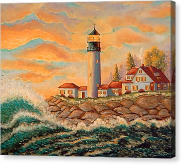 Seaside Lighthouse Canvas Print by Mary Charles