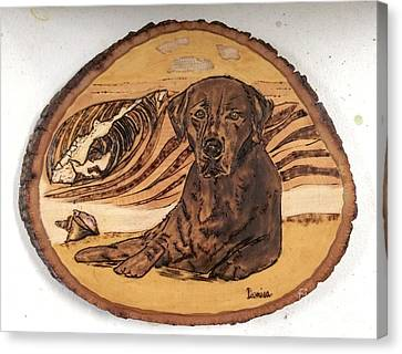 Canvas Print featuring the pyrography Seaside Sam by Denise Tomasura