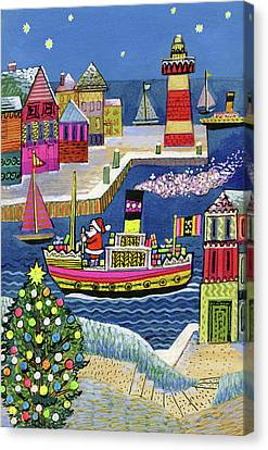 Father Christmas Canvas Print - Seaside Santa by Stanley Cooke