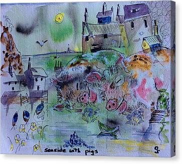 Etc. Canvas Print - Seaside With Pigs by Gordon Bell