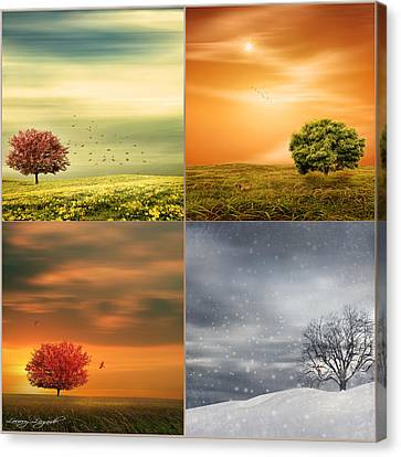 Squirrel Canvas Print - Seasons' Delight by Lourry Legarde