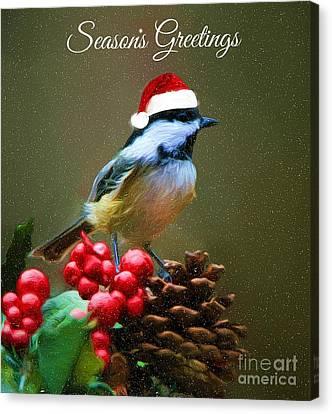 Seasons Greetings Chickadee Canvas Print by Tina LeCour