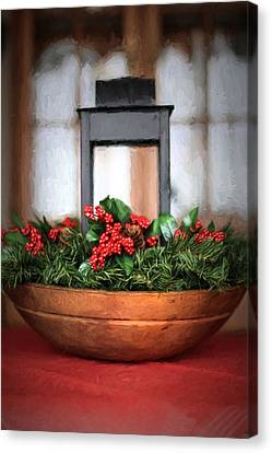 Canvas Print featuring the photograph Seasons Greetings Christmas Centerpiece by Shelley Neff