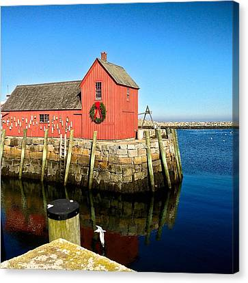 Season's Greetings Rockport Ma Canvas Print