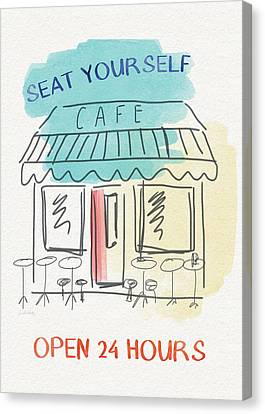 Seat Yourself Cafe- Art By Linda Woods Canvas Print by Linda Woods