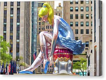 Seated Ballerina At Rockefeller Center 1 Canvas Print by Lanjee Chee