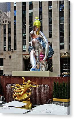 Seated Ballerina Rockefeller Plaza Canvas Print