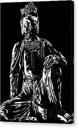 Buddha Sketch Canvas Print - Seated Buddha by Ashley Kujan