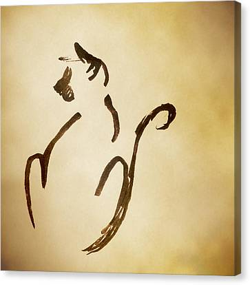 Canvas Print featuring the drawing Seated Cat by Keith A Link