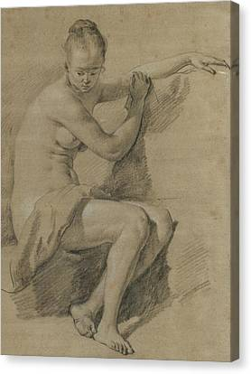 Seated Female Nude Canvas Print by Adriaen van de Velde