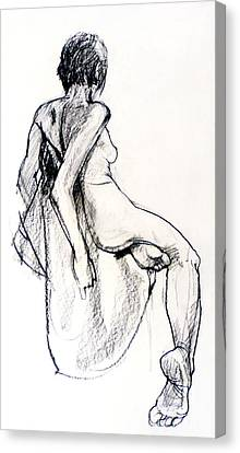 Nude Woman Charcoal Drawing Canvas Print - Seated Female Nude From Back by Roz McQuillan