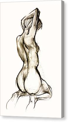 Nude Woman Charcoal Drawing Canvas Print - Seated Female Nude by Roz McQuillan