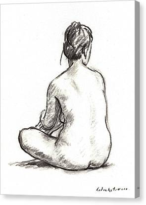 Seated Female Nude Canvas Print by Thor Wickstrom