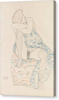 Seated Figure With Gathered Up Skirt Canvas Print by Gustav Klimt