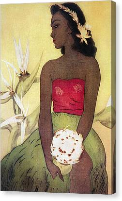 Seated Hula Dancer Canvas Print