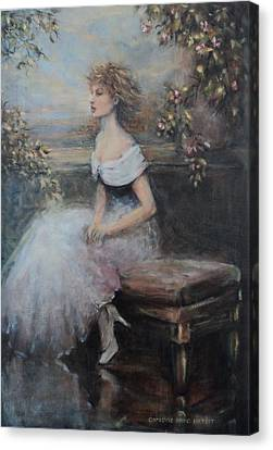 Seated Lady And Flowers Canvas Print by Caroline Anne Du Toit