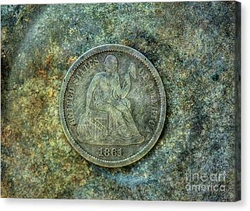 Canvas Print featuring the digital art Seated Libery Dime Coin Obverse by Randy Steele