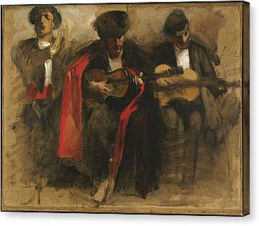 Seated Musicians For El Jaleo Canvas Print by John Singer