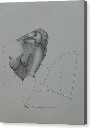 Seated Nude 2008 Canvas Print by S A C H A -  Circulism Technique