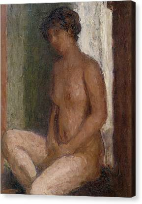 Seated Nude Against The Light Canvas Print by Roderic OConor