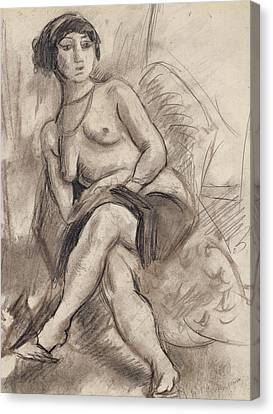 Seated Nude Model Canvas Print by Jules Pascin